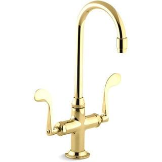 Kohler K-8761-PB Vibrant Polished Brass Essex Entertainment Sink Faucet With Wristblade Handles