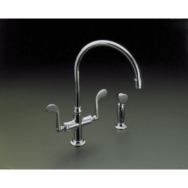Kohler K-8763-CP Polished Chrome Essex Kitchen Sink Faucet With Wristblade Handles And Sidespray