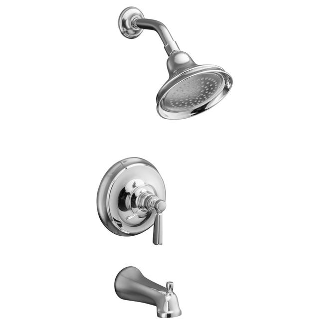 Kohler K-T10581-4-CP Polished Chrome Bancroft Rite-Temp Pressure-Balancing Bath And Shower Faucet Trim With Diverter Spout And M