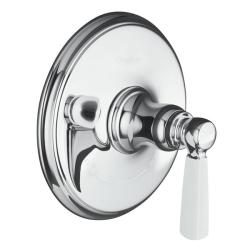 Kohler K-T10593-4P-CP Polished Chrome Bancroft Thermostatic Trim With White Ceramic Lever Handle, Valve Not Included