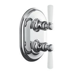 Kohler K-T10594-4P-CP Polished Chrome Bancroft Stacked Thermostatic Trim With White Ceramic Lever Handle, Valve Not Included