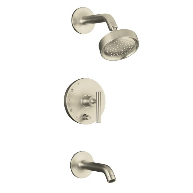 Kohler K-T14420-4-BN Vibrant Brushed Nickel Purist Rite-Temp Pressure-Balancing Bath And Shower Faucet Trim With Push-Button Div