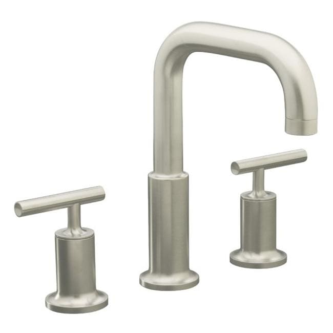 Kohler K-T14428-4-BN Vibrant Brushed Nickel Purist Deck-Mount High-Flow Bath Faucet Trim With Cross Handles, Valve Not Included