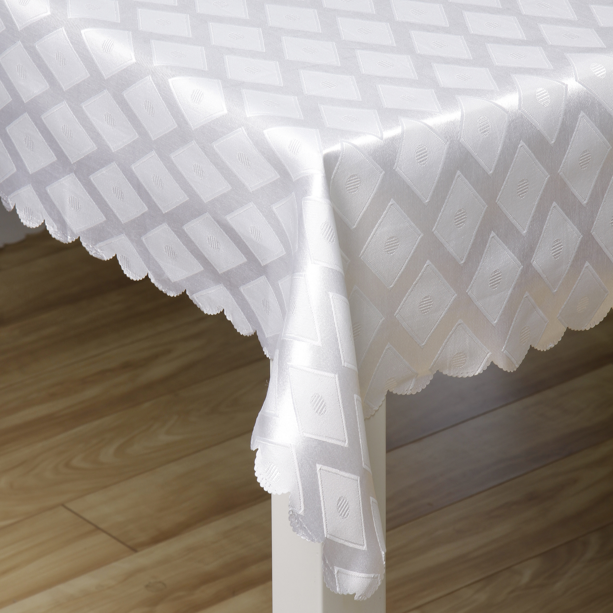 Prestige White Diamond Jacquard 57x119-inch Tablecloth at Sears.com