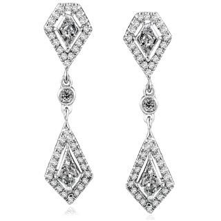 Annello 14k White Gold 1 1/10ct TDW Diamond Earrings (G-H, SI1-SI2)