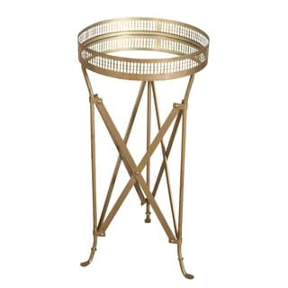 Iron and Glass Accordion Side Table (India)