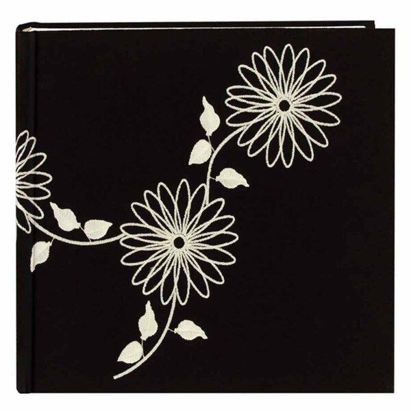 Pioneer Book-style White on Black Floral Photo Albums (Pack of 2)