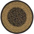 "Indoor/Outdoor Black/Natural Geometric Rug (6'7"" Round)"