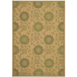 Indoor/ Outdoor Natural/ Green Rug (9' x 12')