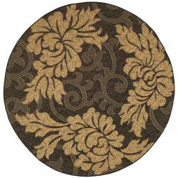 Indoor/ Outdoor Black/ Natural Rug (6'7 Round)