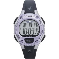 Timex T5E9719J Women's Ironman Traditional 30-lap Black/ Silvertone/ Purple Watch