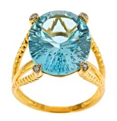 D'Yach Gold over Silver Blue Topaz and Diamond Accent Ring
