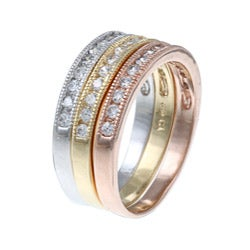 La Preciosa Sterling Silver Stackable 3-tone Cubic Zirconia Ring Set (Set of 3)