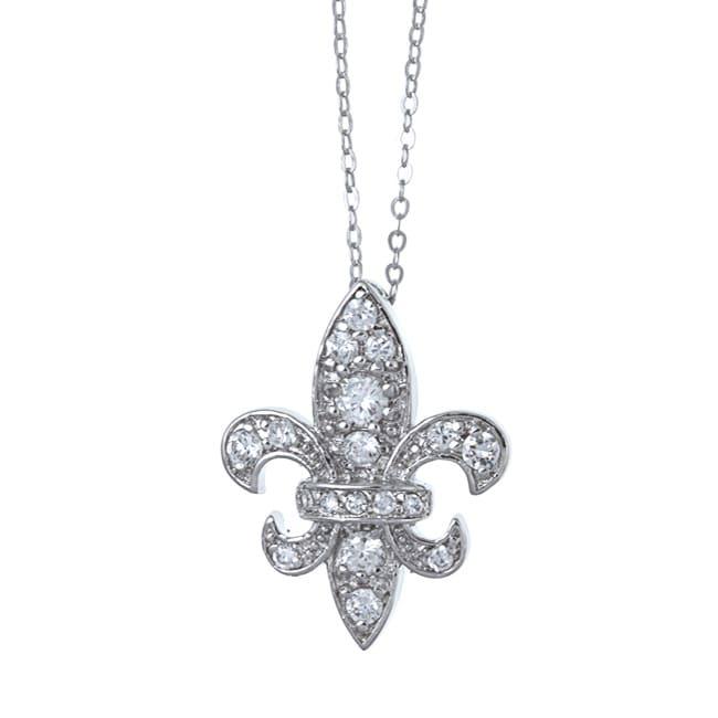 La Preciosa Sterling Silver Fleur de Lis Cubic Zirconia Pendant