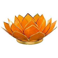 Capiz Shell Amber Lotus Tea Light (Philippines)