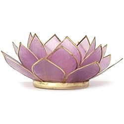 Capiz Shell Amethyst Lotus Tea Light (Philippines)
