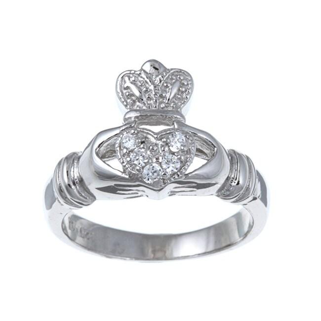 La Preciosa Sterling Silver Cubic Zirconia Claddagh Ring