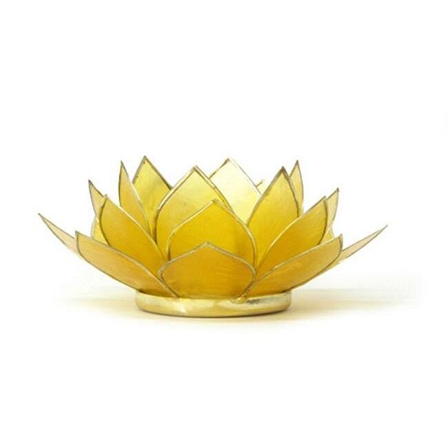 Capiz Shell Citrine Lotus Tea Light (Philippines)