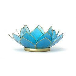 Capiz Shell Turquoise Lotus Tea Light (Philippines)