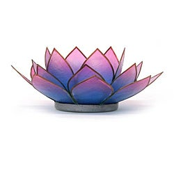 Capiz Shell Pink/ Turquoise Lotus Tea Light (Philippines)