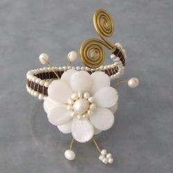 Cotton Rope MOP and Pearl White Flower and Brass Swirl Cuff (3-12 mm) (Thailand)