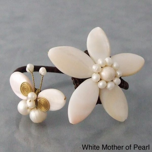 Cotton White/ Brown/ Purple Shell and Pearl Flower/ Butterfly Cuff (3-12 mm) (Thailand)