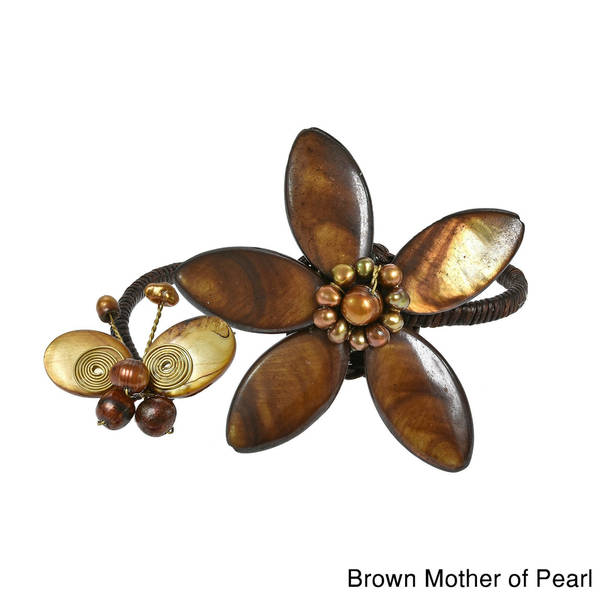 Handmade Cotton White/ Brown/ Purple Shell and Pearl Flower/ Butterfly Cuff (Thailand) 9969677