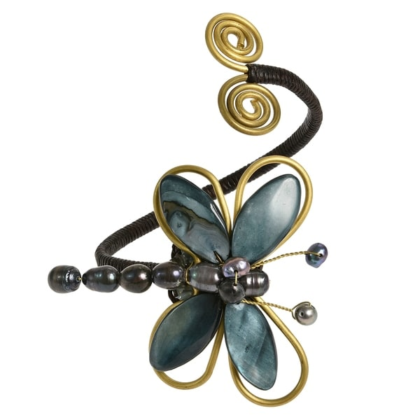 Handmade Cotton Brown/ Black/ White Shell and Pearl Dragonfly Brass Cuff (Thailand) 9969679