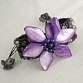 Cotton Mother of Pearl/ Amethyst Purple Flower Pull Bracelet (Thailand)