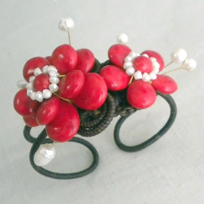 Cotton 5-petals Red Coral/ Pearl Flower Cuff (3-10 mm) (Thailand)