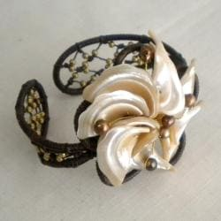 Cotton, Shell and Pearl Brass Bead Brown Flower Cuff (5-7 mm) (Thailand)