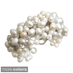 White/ Bronze/ Black/ Pink Pearl and Crystal Flower Cuff Bracelet (6-12 mm) (Thailand)