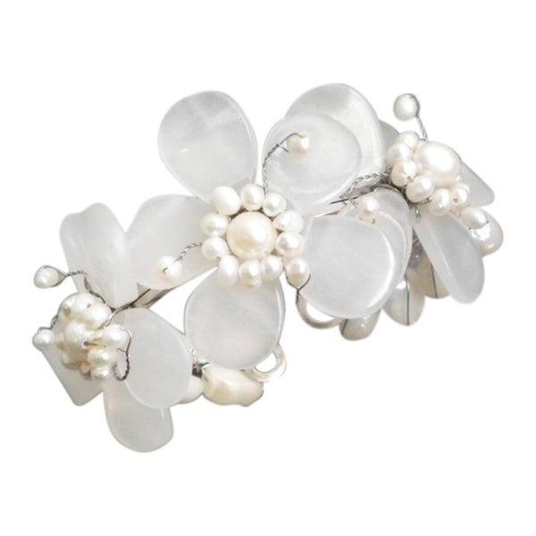 Triple Clear Quartz Flower and White Pearl Cuff (5-15 mm) (Thailand)