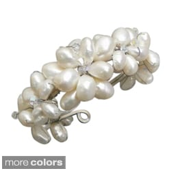 Trendy 7-flower White/ Brown/ Pink Pearl and Crystal Cuff (15-17 mm) (Thailand)
