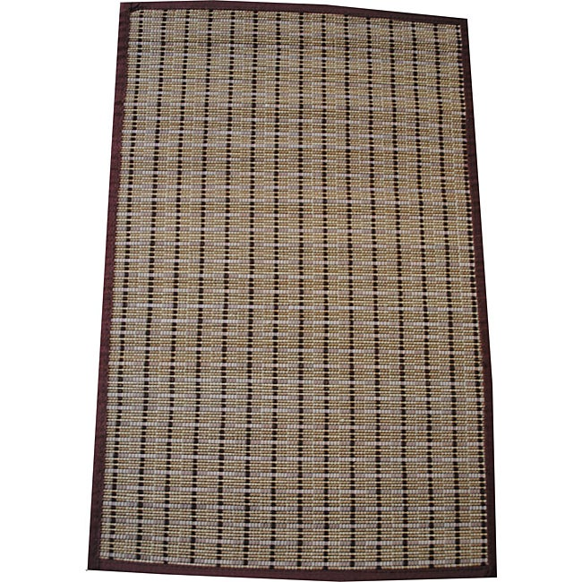 Asian Hand-woven Brown Border Rayon from Bamboo Rug (1'8 x 2'7)