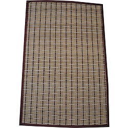 Asian Hand-woven Brown Border Bamboo Rug (1'8 x 2'7)