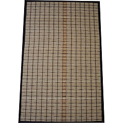 Asian Hand-woven Beige/ Brown Bamboo Rug (1'9 x 2'8)