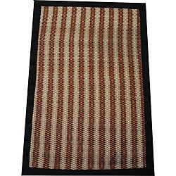 Asian Hand-woven Brown Striped Bamboo Rug (2' x 3')