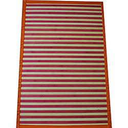 Asian Hand-woven Pink Striped Bamboo Rug (2' x 3')