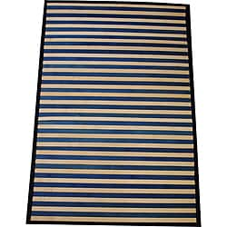 Asian Hand-woven Blue Striped Bamboo Rug (2' x 3')