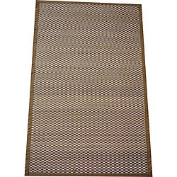 Asian Hand-woven White Checkered Bamboo Rug (2' x 3')