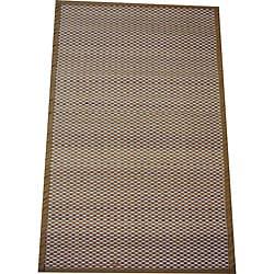 Asian Hand-woven White Checkered Bamboo Rug (2' x 3')