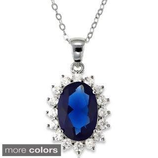La Preciosa Sterling Silver Blue and Clear Cubic Zirconia Diana Necklace