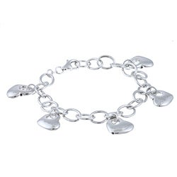 Sterling Essentials Rhodium Plated Silver Charm Heart Bracelet