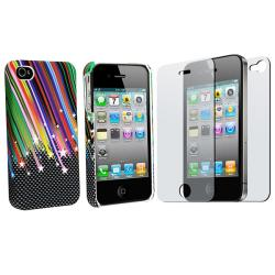 Rainbow Star Rubber Case/ 2-piece Screen Protector for Apple iPhone 4