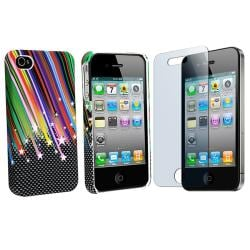Rainbow Star Rubber Case/ Screen Protector for Apple iPhone 4