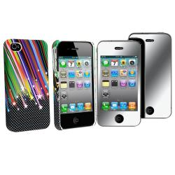 Rainbow Star Rubber Case/ Mirror Screen Protector for Apple iPhone 4