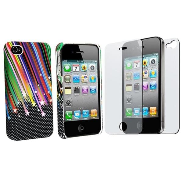 INSTEN Rainbow Star Phone Case Cover/ 2-piece Anti-glare Screen Film for Apple iPhone 4