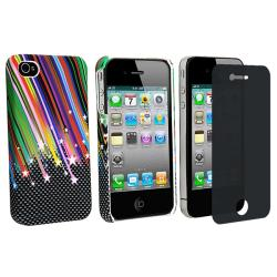 Rainbow Star Rubber Case/ Privacy Screen Filter for Apple iPhone 4