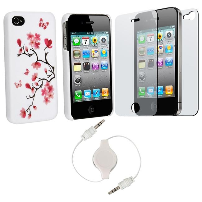3-piece Case/ Screen Protector/ 3.5mm Cable for Apple iPhone 4